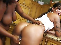 Ebony honey needs a long boner Two beautiful chicks get wild in a threesome with their lucky guy..